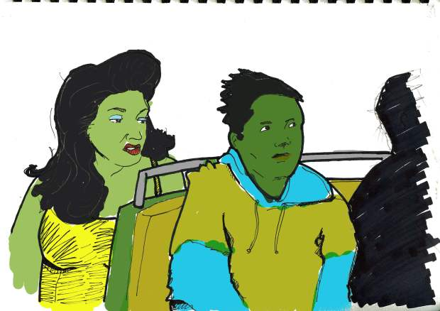 "M. Jackalinski's color test for the short story ""Straight For Pay"" That's me and Miller riding the bus to Occupy"